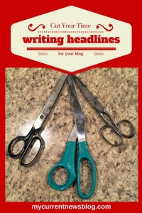 Scissors represent cutting headline writing time down.