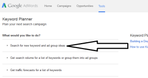 Screenshot Google Adwords Search For New Keyword...