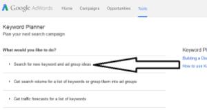 Screenshot Google Adwords Search For New Keyword...