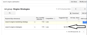 Screenshot Google AdWords Suggested Bid #2