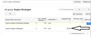 Screenshot Google AdWords Suggested Bid #2